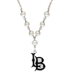 California State Long Beach 49ers pearl necklace. This solid sterling silver necklace combines our high quality antique cut out charm with sterling silver and freshwater pearls. In stock for fast shipping!