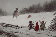 Krampus vs Santa by Jakub Rozalski.