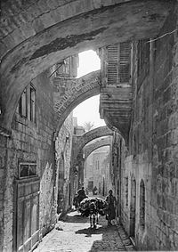 """The Via Dolorosa (Latin,""""Way of Grief"""" or """"Way of Suffering"""") is a street, in two parts, within the Old City of Jerusalem, held to be the path that Jesus walked, carrying his cross, on the way to his crucifixion."""