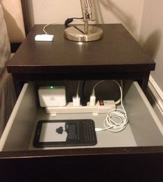 diy home sweet home: 10 Ways to Control Cord Clutter Hide a power strip inside a drawer. {via}