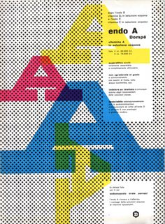 AIAP -Franco Grignani - Pagina pubblicitaria - Endo A - vitanina A in soluzione acquosa - Annuncio presente nella rivista Bellezza d'Italia, rassegna d'arte e di vita moderna, Natale 1952. Edita dalla Dompé Farmaceutici.