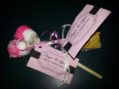 Tea Party. Our gifts for everyone. Sugar & Spice and all things Nice, thanks for joining us for tea. Marshmallows dipped in pink chocolate and half with sprinkles. Tea bags in little mesh type bags. For the princess tea party.