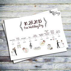 Wedding Timeline Custom Wedding Program by fatandsassyink on Etsy