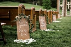 Scripture signs down the aisle...
