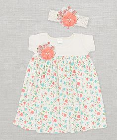 This Ivory Baby Kisses Floral Dress & Lace Headband - Infant by Truffles Ruffles is perfect! #zulilyfinds