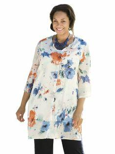 Ulla Popken Plus Size Sketched Floral Duster Set