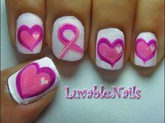Three Pink Hearts & Ribbon; Breast Cancer Awareness nail art by LuvableNails
