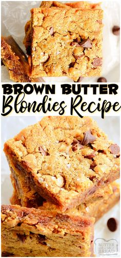 Brown Butter Blondies made with nutty browned butter, brown sugar & classic ingredients for a rich, flavorful blonde brownie recipe! Chocolate Chips & sea salt combine for a salty sweet flavor in these buttery blondie recipe. #butter #brownbutter #blondies #brownies #recipe #baking #easyrecipe from BUTTER WITH A SIDE OF BREAD
