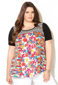 Mixed Print Swing Top-Plus Size Top-Avenue