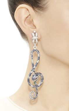 One Of A Kind Snake And Music Note  Earrings by Helen Yarmak International for Preorder on Moda Operandi