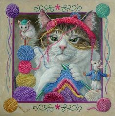 """""""Mable Knitting"""" - Original Fine Art for Sale - © Joy Campbell"""