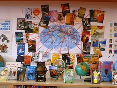 Link stories from around the world. Library Displays: One World, Many Stories. strings lead from book (display/pic) to country of origin. School Library Displays, Middle School Libraries, Library Themes, Elementary Library, Classroom Displays, Classroom Themes, Library Ideas, Multicultural Classroom, Classroom Resources
