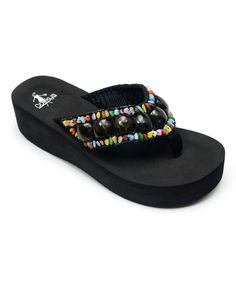 This Black Beaded Rio Flip-Flop is perfect! #zulilyfinds