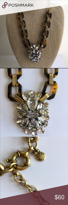 """J Crew Statement Necklace Beautiful 2-1/2"""" Crystal Center Piece Attached to Tortoise Link with Bronze Heavy Link Chain!  This Necklace is Perfect!  Necklace itself is 21"""" and extends to 24"""". J. Crew Jewelry Necklaces"""