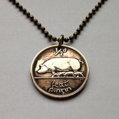 1946 Ireland 1/2 Pingin coin pendant charm necklace jewelry Pig Boar swine Sow five piglets oink Irish Éire animal No.001225 by acnyCOINJEWELRY on Etsy