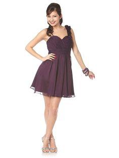 Short Purple Bridesmaid Dress Chiffon Flower Strap Above Knee Shirred Colors Available) Cheap Prom Dresses Uk, Girls Short Dresses, Designer Prom Dresses, Cheap Wedding Dress, Homecoming Dresses, Bridesmaid Dresses, Bridesmaids, Dresses Dresses, Sweet Sixteen Dresses