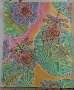«Waterlilies & dragonflies  #dagdrömmar #softpastel #coloringbookforadults #dragonfly #waterlily»