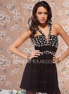 Homecoming Dresses - $136.99 - Elegant A-Line/Princess V-neck Short/Mini Chiffon Charmeuse Homecoming Dresses With Ruffle Beading (022004397) http://jenjenhouse.com/pinterest-g4397