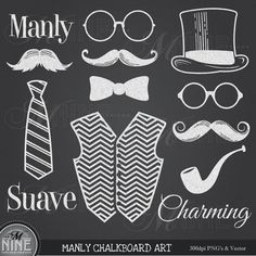 CHALKBOARD Clipart MANLY MUSTACHE Theme Clip Art, Instant Download, Mustaches Clip Art Bow Neck Tie Hat Vector Art File Icons Graphics