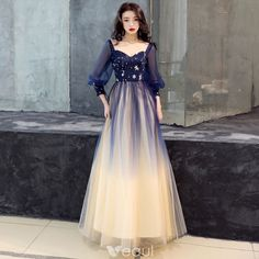 Elegant Navy Blue Gradient-Color Prom Dresses 2019 A-Line / Princess Square Neckline Puffy Sleeve Sequins Floor-Length / Long Ruffle Backless Formal Dresses Grad Dresses Short, Cheap Prom Dresses, Blue Party Dress, Wedding Party Dresses, Dresses Elegant, Pretty Dresses, Formal Dresses, Evening Dresses With Sleeves, The Dress