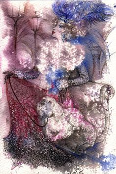 """I love this one simply for the dog! """"Lady with dog 2"""" by Elvira Baranova (watercolor)"""