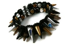 Spike Cuff Bracelet, Double Row of Silver, Gold, and Black Czech Glass Spike Beads