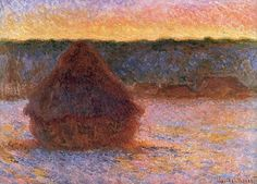 Claude Monet Wheatstack Sun in the Mist 1891 | Claude Monet 1891 Haystack at Sunset, Frosty Weather oil on canvas
