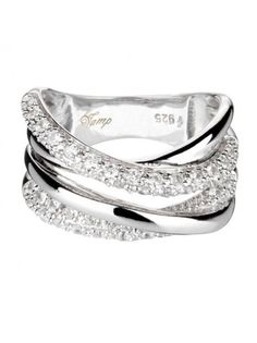 Vamp Chic Elegant Sterling Silver Ring With 4 Enfolding Bands Cubic  Zirconias by Vamp London in aa53797cf5