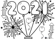 Kleurplaat 2021 • Juf Maike Cute Coloring Pages, Coloring For Kids, Adult Coloring Pages, Paint Pens For Rocks, New Year Printables, New Year's Eve Activities, New Year's Crafts, Art Classroom, Christmas Crafts For Kids