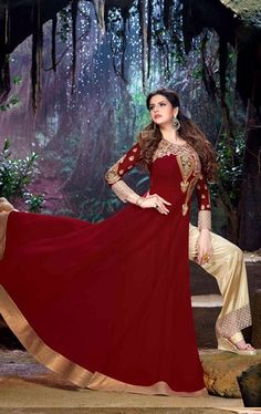 Attractive Deep Red Designer Bollywood Suit