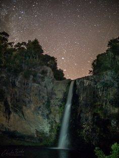 Stars over the Hunua falls in New Zealand's North Island. There's a beautiful swimming hole at the bottom of these, although it's not exactly warm and you might have to share it with some rather large eels.... #Hunua #Newzealand #astrophotography #SLRMagic #panasonic #gx7 #f0.95