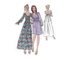 1970s Dress Pattern Maxi or Day Shirred by PrettyPatternShop