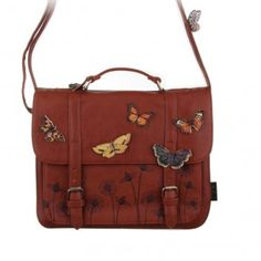 Bohemia Satchel Bag This stylish satchel bag is part of the Bohemia range from Disaster Designs. Beautifully illustrated with three dimensional butterflies, it is big enough to be your daily bag, and pretty enough for s Mochila Hippie, Disaster Designs, Butterfly Bags, Leather Satchel, Bag Accessories, Purses, Gifts, Window Shopping, Shopping Bag
