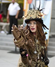 girl, steampunk, and goggles