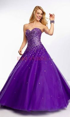 Purple glitzy rhinestone sweet sixteen dress!