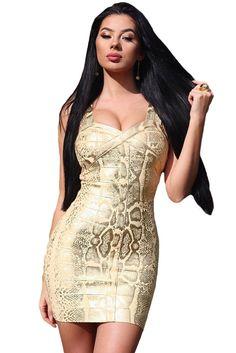 Foil Print Bandage Dress In Gold LAVELIQ