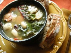 White Bean and Bratwurst Soup with Mixed Spring Greens (I use Painted Hills Natural Beef German Sausage - NO NITRITES or NITRATES!!!)