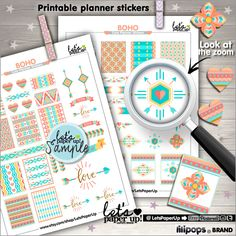 Boho Stickers, Printable Planner Stickers, Hippie Stickers, Erin Condren, Kawaii Stickers, Boho Style, Planner Accessories, Chic Stickers