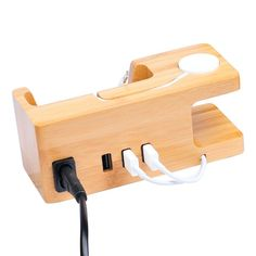 USB Charger For Apple Watch & Phone Organizer Stand,Cradle Desktop Bamboo Wood Charging Station for iwatch & iphone & Other Smartphone Apple Watch Phone, Iphone Watch, Iphone 8, Wood Phone Holder, Usb Charging Station, Iphone Stand, Phone Organization, Desktop, Smartphone