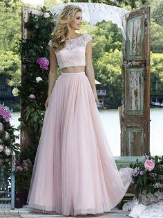 A-Linie/Princess-Stil Bateau-kragen Ärmellos Bodenlang Tülle Applikation Zwei Stück Kleider