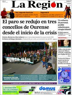 Los Titulares y Portadas de Noticias Destacadas Españolas del 2 de Diciembre de 2013 del Diario La Región ¿Que le pareció esta Portada de este Diario Español?