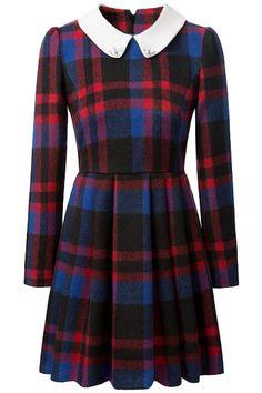 the dress featuring tartan plaid print. pleated waist. peter pan collar. long sleeves.