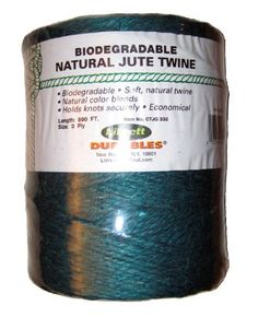 Librett Biodegradable Green Natural Jute Twine, 890 FT - 65oz - 3 Ply by Librett. $11.95. 100% pure twisted jute. High quality, evenly spun with a soft easy to handle feel. Natural colors blend into outdoors. Low stretch and hold knots securely. Uses: Recycling tying twine, gardening, crafts, sewing burlap bags. A popular economical all purpose household twine.