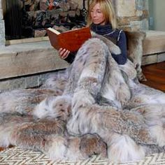 Lynx Fur Blanket for the fireplace