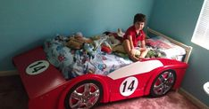 Race Car Bed Frame Plans - Today there are many type of bed frames out there such as loft bed frames. Loft bed frames are kin Car Bed Frame, Bed Frame Plans, Loft Bed Frame, Bed Frames, Bed Plans, Toddler Car Bed, Kids Car Bed, Race Car Bedroom, Kids Bedroom
