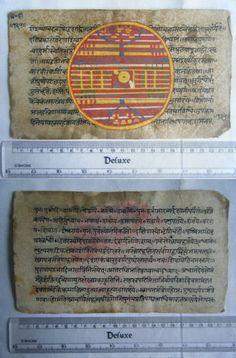 Rare Original Antique Old Manuscript Jain Cosmology New Hand Painting India#648