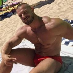 Dad #hecanwearit #redspeedo #beach #speedo #muscle #massive #sexy #summer #beard