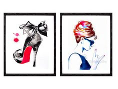 Set of 2 Fashion Illustrations Art Prints of Original Watercolor Icon Crimson Red Black Highheels Salon Decor