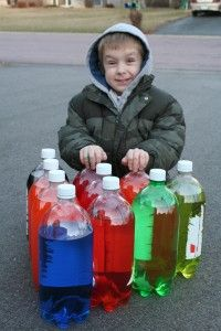 Fun and frugal: Driveway bowling! #DIY #crafts #frugal - Put a glow stick in each bottle at night for evening bowling!