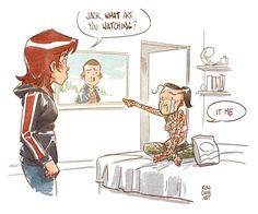 """rondanchan: """"Today in bizarre Mass Effect fanfic doodles: Jack discovers a certain 2016 Earth vid. """""""